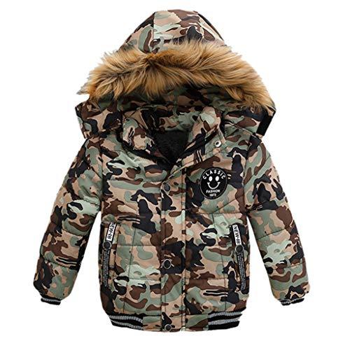 TTLOVE Mode Kinder Jacke Baby Jungen Mädchen Winter Dicken Mantel Gepolsterte Winterjacke Kapuzenjacke Kleidung(Tarnen,100 cm)