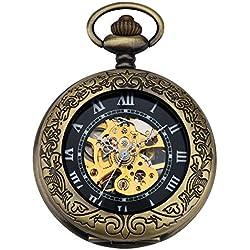 ZEIGER Herren Taschenuhr Analog Mechanisch Handaufzug Uhr Skelett Taschenuhr Armbanduhr Bronze Herren Uhr W345