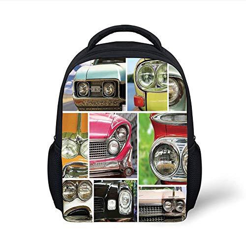 Kids School Backpack 1960s Decor,Vintage Car Speed Road Youth Rustic Lifestyle Transportation Luxury Decorative, Plain Bookbag Travel Daypack -