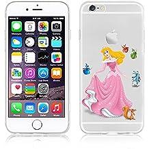 Disney Princess Transparent Soft Cases for Apple iphone 5/5S 5C 6/6S (iPHONE 6/6S AURORA)