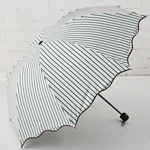 JiMany Regenschirm Sonnenschirm Automatik, Gestreift, Regentag Dual-Use, Faltbar, Unisex, Reise Unerlässlich,Green