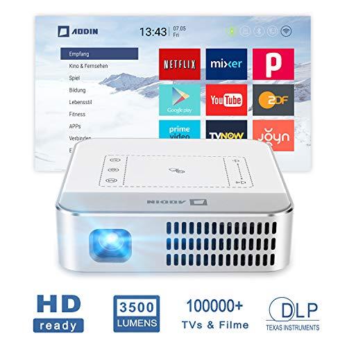 """AODIN Wow Video-Beamer WiFi 3500 lm tragbarer LED DLP Heimkino Projektor, unterstützt 4K Filme, 300"""" HDR Mini TV-Beamer fachlich für Heimkino & PC-Spiele, 100000+ Live-TV & Filme von Apps"""