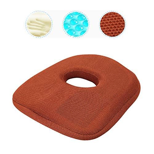yuwell Cojín de Gel de Espuma viscoelástica Donut para Tratamiento de hemorroides y Alivio del Dolor de coxis, cojín para Asiento para Coche, Oficina y hogar, Red-Brown, 45cm*45cm*5cm