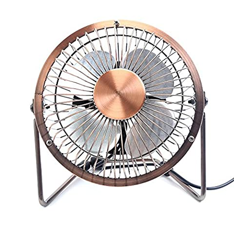 Portable USB Powered Desk Mini Fan - Glamouric Vintage Metal Cooler Fan Cooling Mute Quiet - Small Table Fan with Switch on/off, Great for Desktop Tabletop Office & Travel, Retro Designed Copper