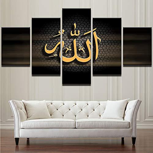 Zxdcd Leinwand Wandkunst Hd Gedruckt Moderne Öl Poster 5 Stück Islamischen Allah Der Koran Malerei Home Decor Buchstaben Bilder -30X40Cmx2 30X60Cmx2 30X80Cm