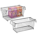 mDesign Juego de 2 cestas organizadoras Multiuso - Cesta de Alambre de Metal apilable para Cocina, baño, Oficina y más - Cesta de almacenaje con Asas para Transporte - Plateado