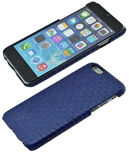 iPhone 6s - Original SunCase ® (Backcover) Tasche Schutzhülle Hard Case aus echtem Leder (geflochtenem Look) in rot Blau