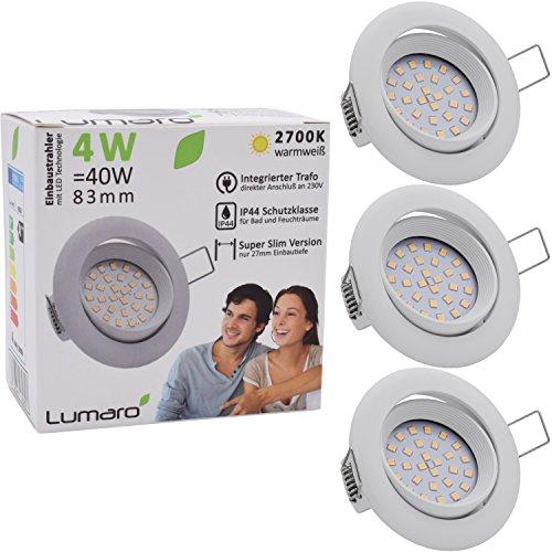 Lumaro LED Einbauspot Extra Flach 4W 230V IP44 3er Set (Leuchtmittel austauschbar) 400lm schwenkbar warmweiss für Feuchtraum und Wohnraum Mini Einbaustrahler Deckenspot weiss rund