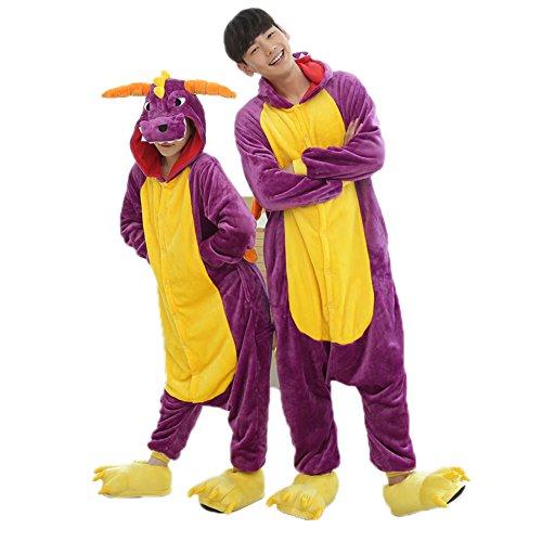 Pyjama Dragon Violet Combinaisons Animaux Femme Homme Grenouillère Kigurumi Adulte Pyjamas Costume Onesie XL