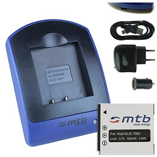 Akku + Ladegerät (Netz+Kfz+USB) für Kodak Klic-7001, Easyshare M320... / BenQ DC E1050 E1220 / Praktica Luxmedia 10-TS.. s. Liste