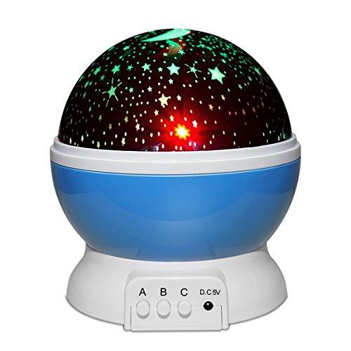 Yasolote Luz Nocturna Recargable Lámpara de Cielo de Estrella y Luna 360 Grados Proyector Lámpara con 12 Tipos de Melodías para el Habitación de Bebé, Dormiorio, Cuarto, Sala de Juegos, Regalo de Halloween, Navidad (Azul)