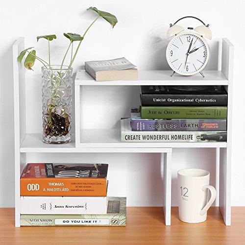 EBTOOLS Tischregal, DIY Tisch Lagerregal Bücherregal Display Regal Standregal Aufbewahrungsregal Tischorganizer für Arbeitszimmer und Büro, 2 Montagemöglichkeiten und 3 Farben optional (Weiß) -