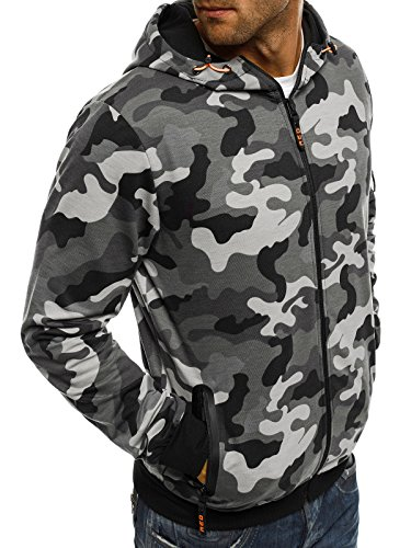 ozonee uomo maglia pullover felpa con cappuccio sportivi Felpa RED Fireball 1120 camo-grau_rf-1221