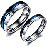 دبل رجالي نسائي مطلي كريستال مبهرة مصنع من التيتانيوم هدية ذكري الزواج لون فضي وأزرق cr6مقاس خاتم الرجل:9 مقاس خاتم النساء:7