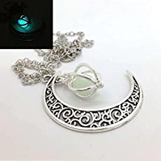 2pcs Glowing Crescent Moon luminous beads, Moon Pendant Glowing Orb Necklace,glow in the Dark Necklace,moon Necklace,twilight Necklace