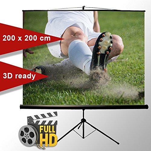 ivolum Stativleinwand 200 x 200cm,Leinwand Format 1:1, Heimkino Leinwand, Beamerleinwand,3D Leinwand,Full HD Leinwand, mobile Leinwand