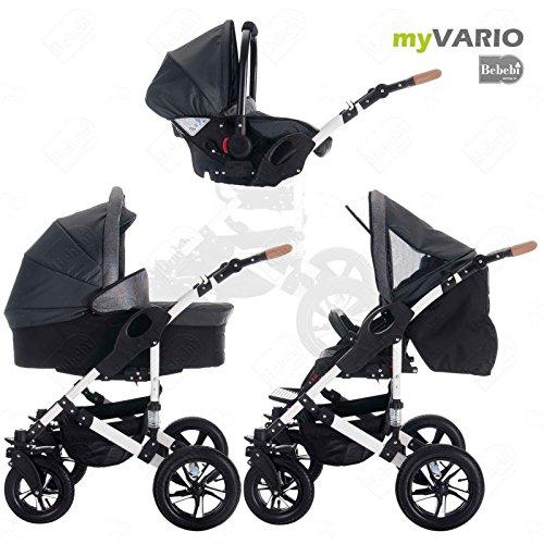 Bebebi | modello myvario | 3 in 1 passeggino con carrozzina modulari combinabili | ruote ad aria - mystar
