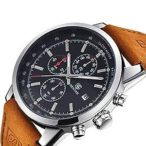 BENYAR BY-5102M Herren Chronograph Schwarzes Zifferblatt Armbanduhr Leder Braun Uhr Analog Quartz Wasserdicht 30m Dornschliesse