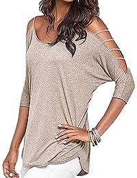 e1dfd73da05c Evishine Damen Bluse Stricken kurzarm T-Shirt Beiläufige aushöhlen Schulter  Bluse Tops