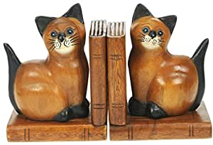 Cat Bookends - Hand Carved Traditional Wooden Gifts. Set of 2 : Top Christmas and Birthday Gift Idea : High Quality Traditional Wooden Xmas Present For Children, Adults or Animal Lovers!