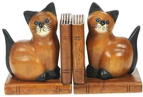 Katze Buchstützen x 2 : Handgeschnitzte hölzerne tierische Verzierung : Qualitätsweihnachtsgeschenk für Männer u. Frauen : Traditionell Handgefertigt aus Holz: Haus Dekoration …