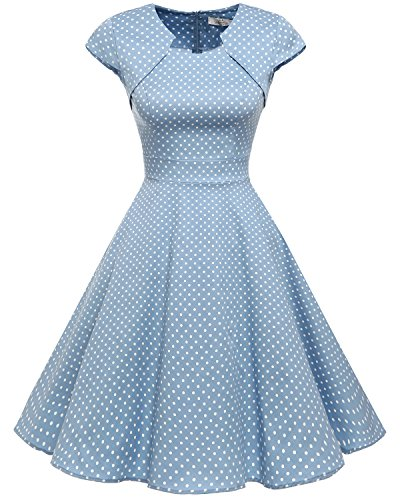 HomRain Damen 50er Vintage Retro Kleid Party Kurzarm Rockabilly Cocktail Abendkleider Blue Small White Dot XS