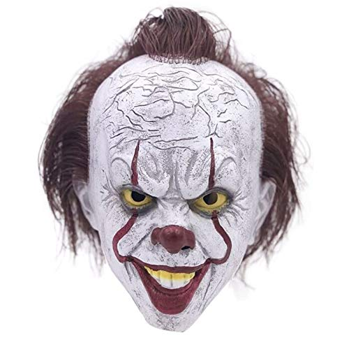 Stephen Clown Es Von King Kostüm - Film Stephen King Es Es Clown Joker Kostüm Party Masken Voller Kopf Haar Ball Beängstigend Halloween Cosplay Maske