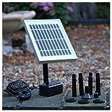 PK Green Solar Teichpumpe mit Akku | 2W Solar Springbrunnen mit Akku | 200 L/h Solarpumpe Wasserpumpe Klein für Außen, Gartenteich, Wasserfall mit LED Licht