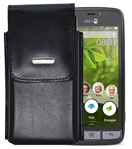 Vertikal Etui für Doro 8031 | Doro 8031C - Köcher Tasche Hülle Ledertasche Vertical Case Handytasche mit einer Gürtelschlaufe auf der Rückseite