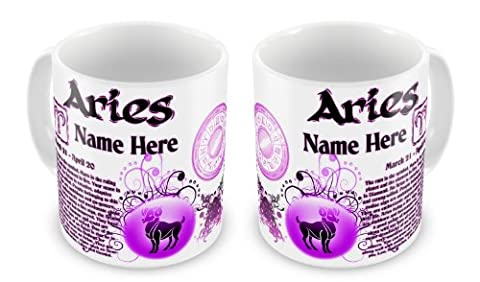 Personalised Any Name Aries Zodiac Astrology Horoscope Star Sign Novelty Gift Mug - Pink