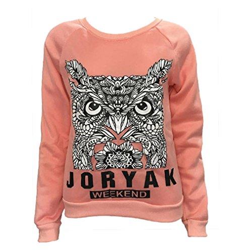 AmazingDays Chemisiers T-Shirts Tops Sweats Blouses,Femme Lettre Hibou Imprimer Chemise à Manches Courtes Pull Molletonné T-Shirt Tops Chemisier pink