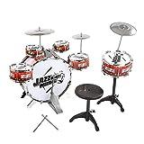 BISOZER Jazz Drum-Set für Kinder, 12-teiliges Set für Kinder, 6 Becken, Stuhl, Kickpedal, 2 Drumsticks, Hocker – Little Rockstar Kit zur Stimulation von Kindern für Weihnachten, Geburtstag weinrot