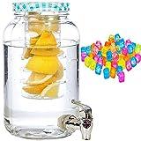 esto24® Hochwertiger Saftspender Getränkespender aus Glas mit Fruchteinsatz und 20 Eiswürfel 3 Liter mit Zapfhahn und Deckel