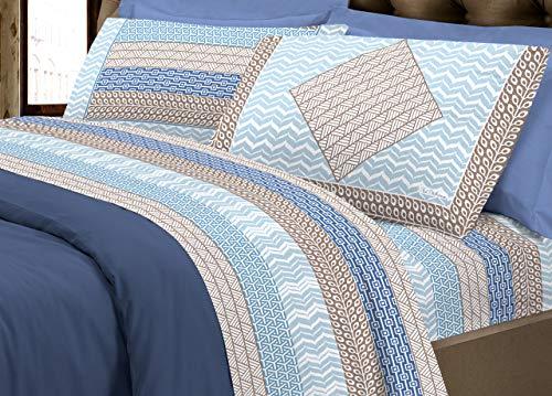 BIANCHERIAWEB Completo Lenzuola in Morbida Flanella Linea Europa Disegno Azteco Matrimoniale Blu