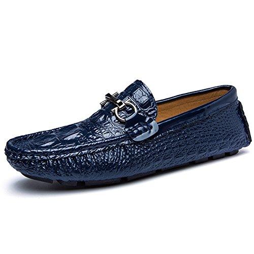 Herren Beiläufige Lederne Schuhe Mokassin Slipper Halbschuhe Freizeit Loafers Schuhe Stil4-Dunkelblau