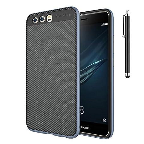 Für Huawei P10 Plus, CaseFirst Slim TPU Hülle Schlag-Resistente Carbon Faser Texture Protective Phone Shell für Huawei P10 Plus (Marine Blau)