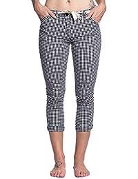 Abbino 6039-1 Karo Pantalón con Lazo para Mujer 2 Colores - Rebajas  Atractivo Entretiempo Primavera Verano Otoño… bcbc34a0bfb