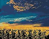Rihe Malen Nach Zahlen, DIY Ölgemälde Sonnenblumen Leinwand Drucken Wandkunst Haus Dekoration Ohne Rahmen