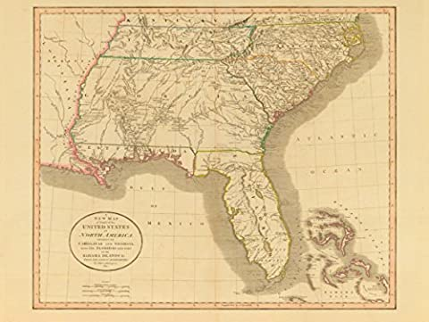 MAP ANTIQUE 1812 UNITED STATES AMERICA SOUTH EAST GEORGIA FLORIDA USA 30X40 CMS FINE ART PRINT ART POSTER BB8146
