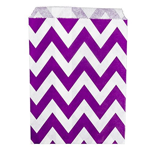 25 sachets de bonbons en Papier Violet Motif Chevron mariage Blanc