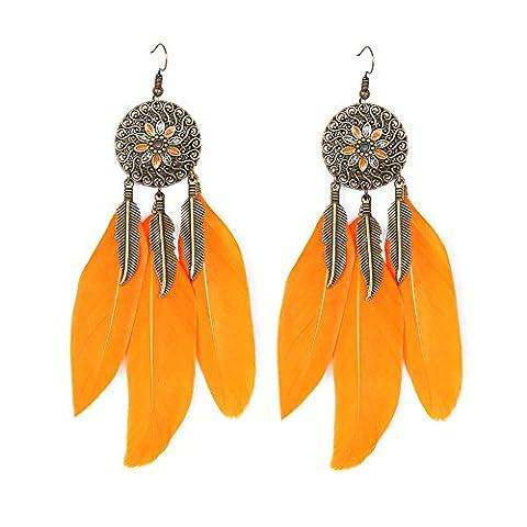 VENI MASEE Antike Elegante Zarte Ohrringe Blätter Anhänger/Feder/16 Farben Geschenk box einschließen