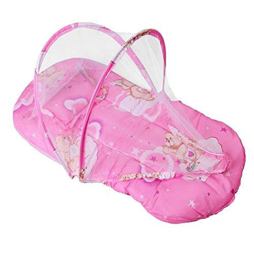 Inovey Neu Faltbar Baby Baumwolle Gepolstert Matratze Kissen Warm Bed Moskitonetz Krippe Zelt - Rosa