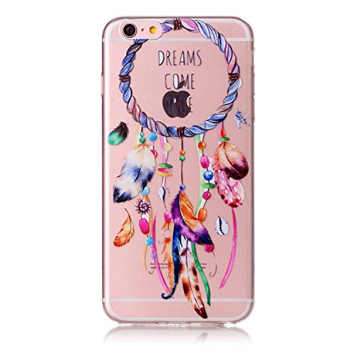 EUWLY Cover per iPhone 6 Plus/iPhone 6s Plus (5.5), Ultra Sottile Custodia per [iPhone 6 Plus/iPhone 6s Plus (5.5)] Trasparente Morbido Silicone Case Fashion Colorful Painting Disegno Modello TPU Cu Campanula Dream Catcher