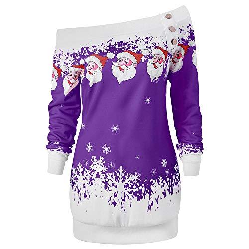 VEMOW Heißer Einzigartiges Design Mode Damen Frauen Frohe Weihnachten Schneeflocke Gedruckt Tops Cowl Neck Casual Sweatshirt Bluse(Y2-Violett, EU-38/CN-L)