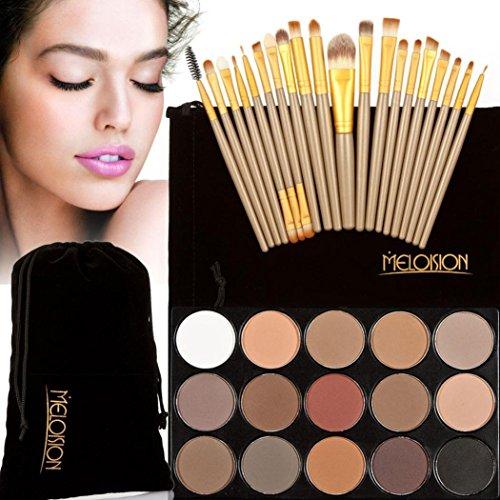 Tonsee 15 Couleur Fard à paupières+ 20 Pcs 20 pièces maquillage brosses Concealer Shadow de poudre pour le visage (Marron+Or)