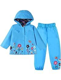 LZH Mädchen Kinder Regenjacke mit Kapuze Regenhose 2pcs Bekleidungsset