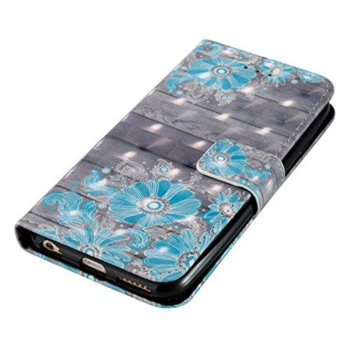 iPhone 6 Plus Leder Hülle,iPhone 6s Plus Book Case,TOYYM Folio PU Leder Wallet Tasche Case mit Standfunktion Karteneinschub und Magnetverschluß,Notebook Flip Cover Brieftasche Handytasche Innere Bumpe Blaue Blume