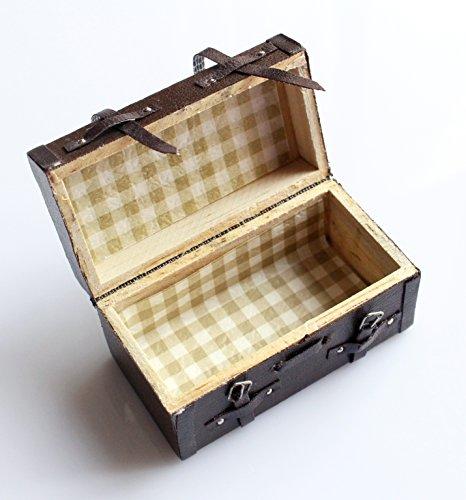 1: 12Miniatura della casa di bambole Que Lleva el Pelle de la vendimia valigetta di legno marrone mini valigia per i mobili della casa di bambola