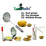 Trackindia Combo Of Stainless Steel Kitchen Press & Puri Press, Chapati Press With Stainless Steel Deep Fry Strainer