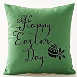 vintage cap Happy Easter Oil Painting Smile Bunny Color Egg and Butterflies Cotton Linen Square Decorative Throw Pillow Case Cushion Cover 18inchs (35)